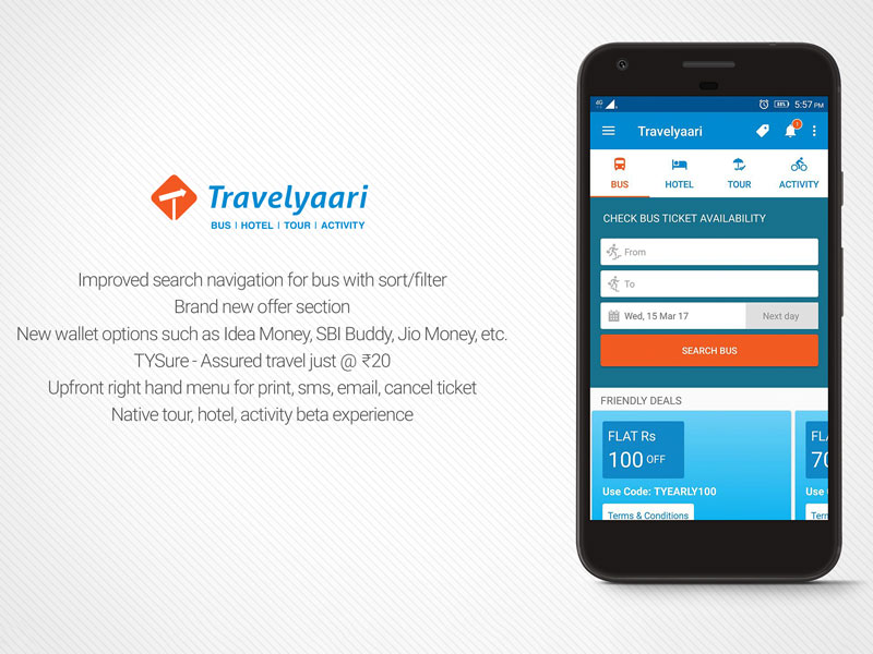 Travelyaari App Main Screen